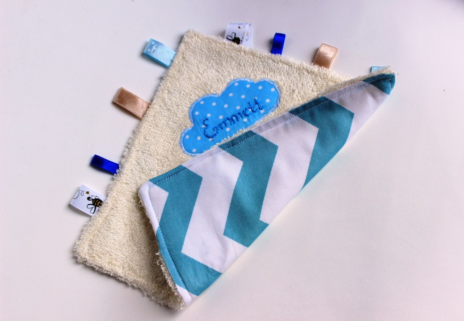 PERSONALISED TAGGY BLANKET//COMFORTER//GIFT IN BLUE