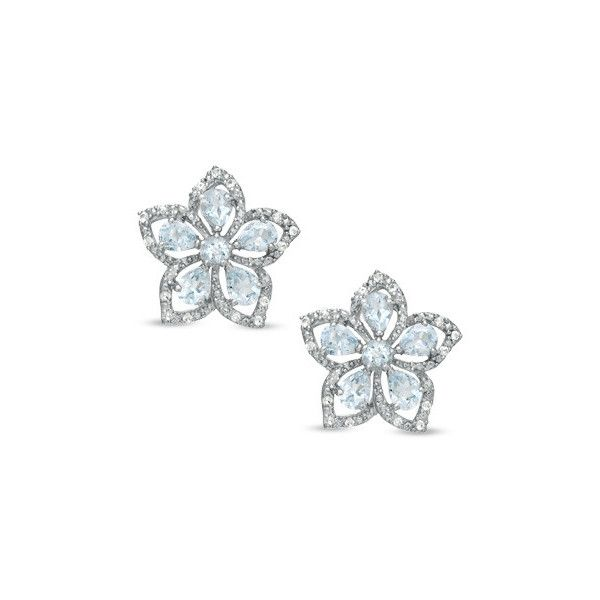 Zales Aquamarine and White Topaz Flower Earrings in Sterling Silver u7nTOlq2wr