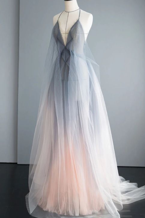 Gray Tulle Open Back Long A Line Prom Dress, Evening Dress from Girlsprom