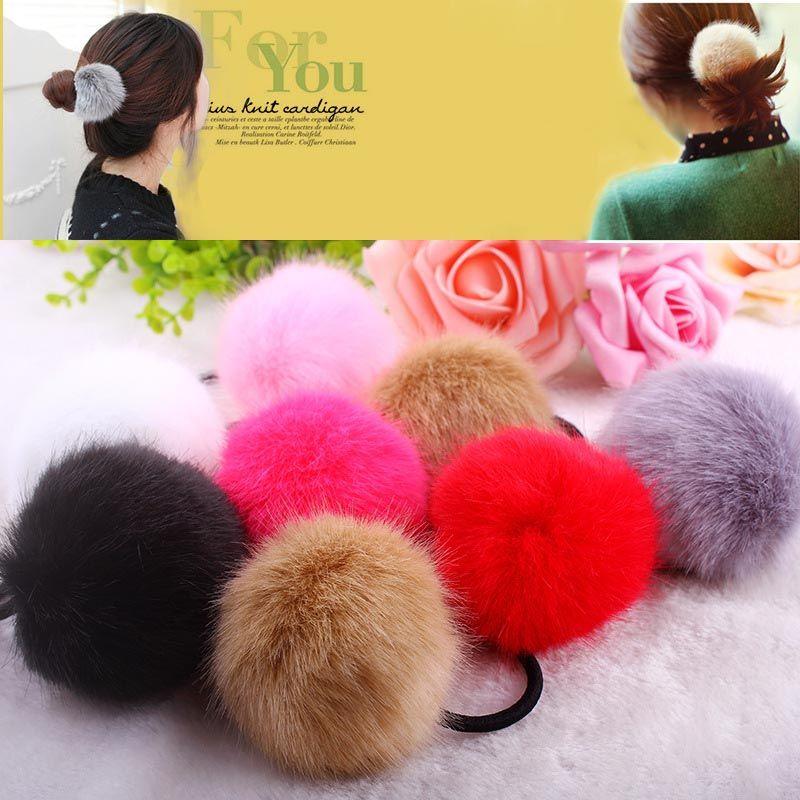 Fur Ball Ponytail Holder Fur Ball Headband Hair Accessories Elastic Hair Rope