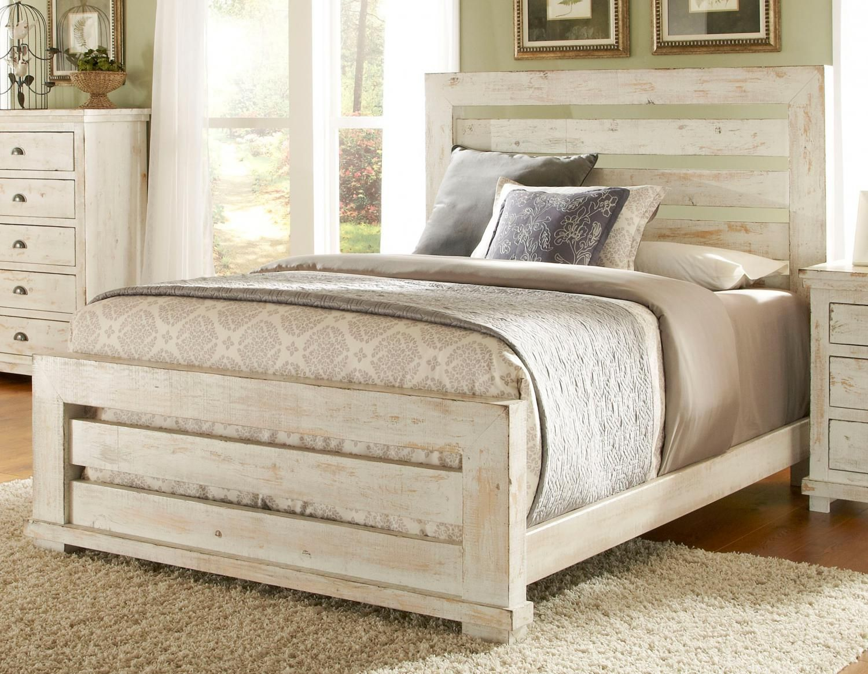 Progressive Furniturequeen White Distressed Pine Slat Bed