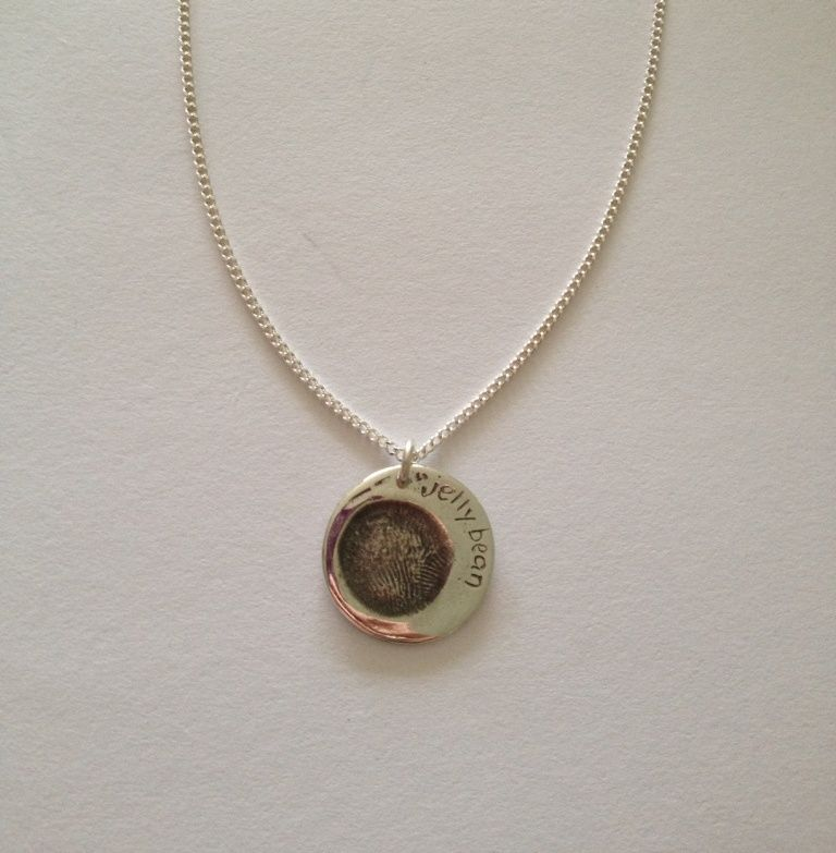 A present for granny small round silver pendantcharm featuring a present for granny small round silver pendantcharm featuring baby fingerprint and personalised aloadofball Image collections