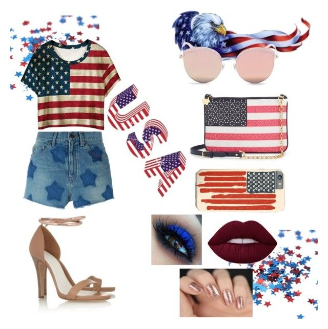 """Happy Independence Day !!! USA"" by cristhina-a-dieguez-c ❤ liked on Polyvore featuring Yves Saint Laurent, WithChic, Draper James, Stephane + Christian and Gucci"