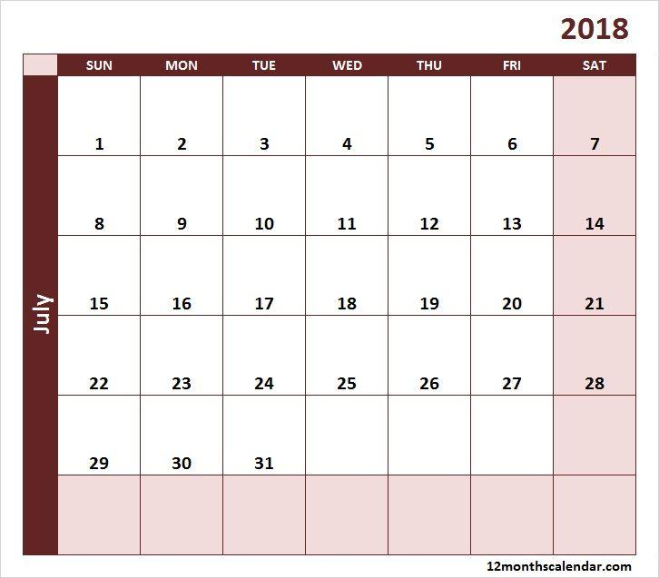 July Calendar 2018 Gif Printable Editable 2018 Calendar