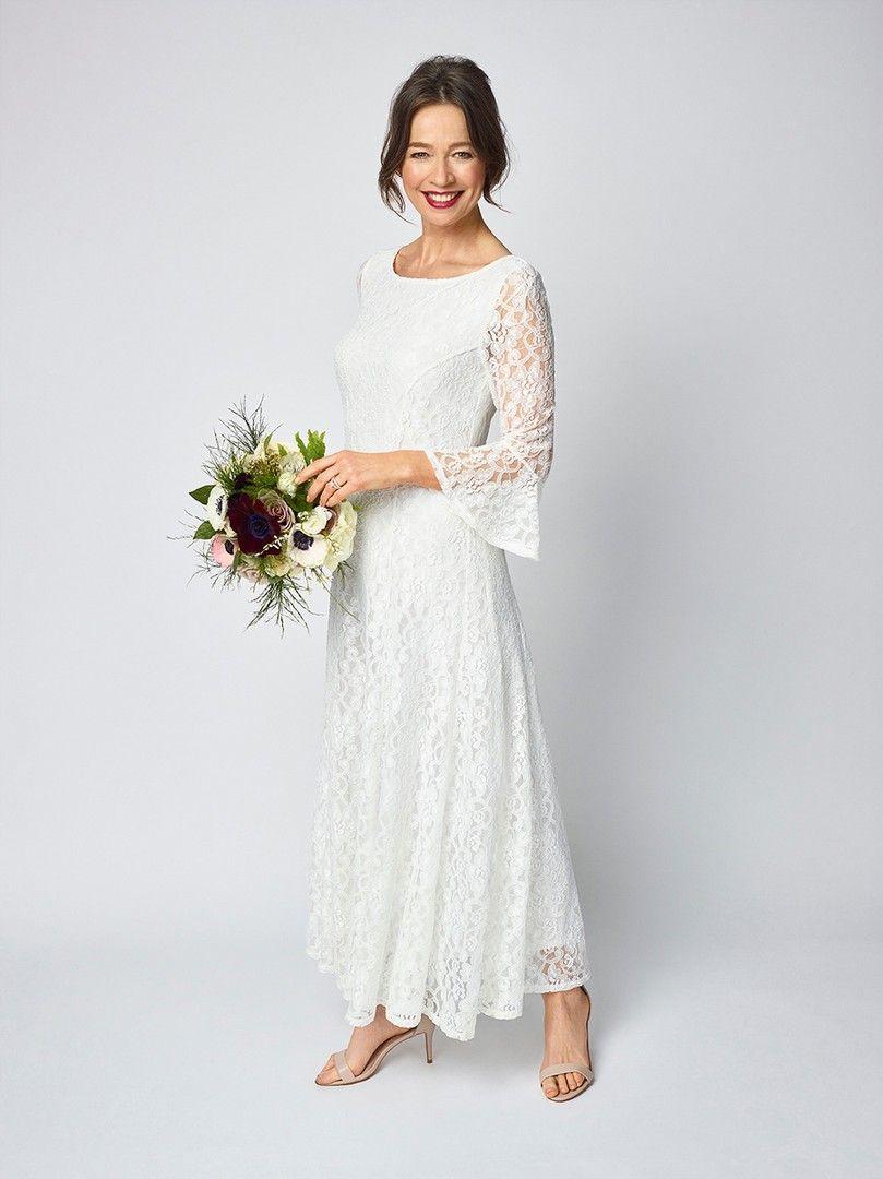 Bell sleeved wedding dress for older brides