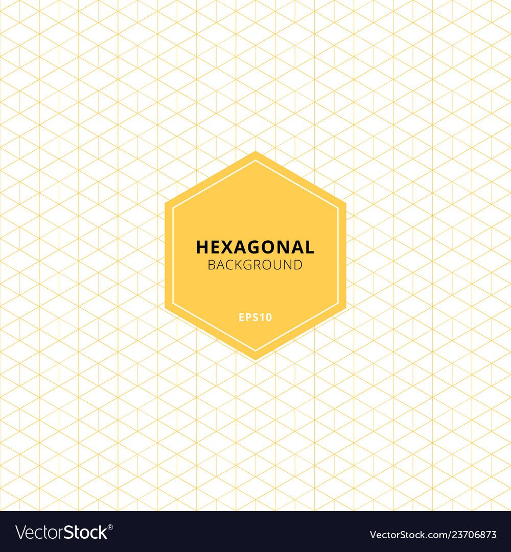 Abstract yellow hexagons pattern on white Vector Image ...