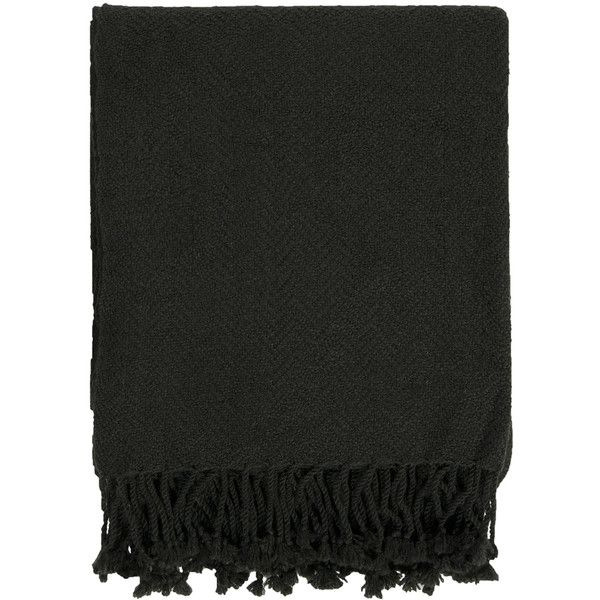 Surya Turner Black Throw Blanket (£21) ❤ liked on Polyvore featuring home, bed & bath, bedding, blankets, textured blanket, black throw blanket, chevron bedding, black blanket and surya throws