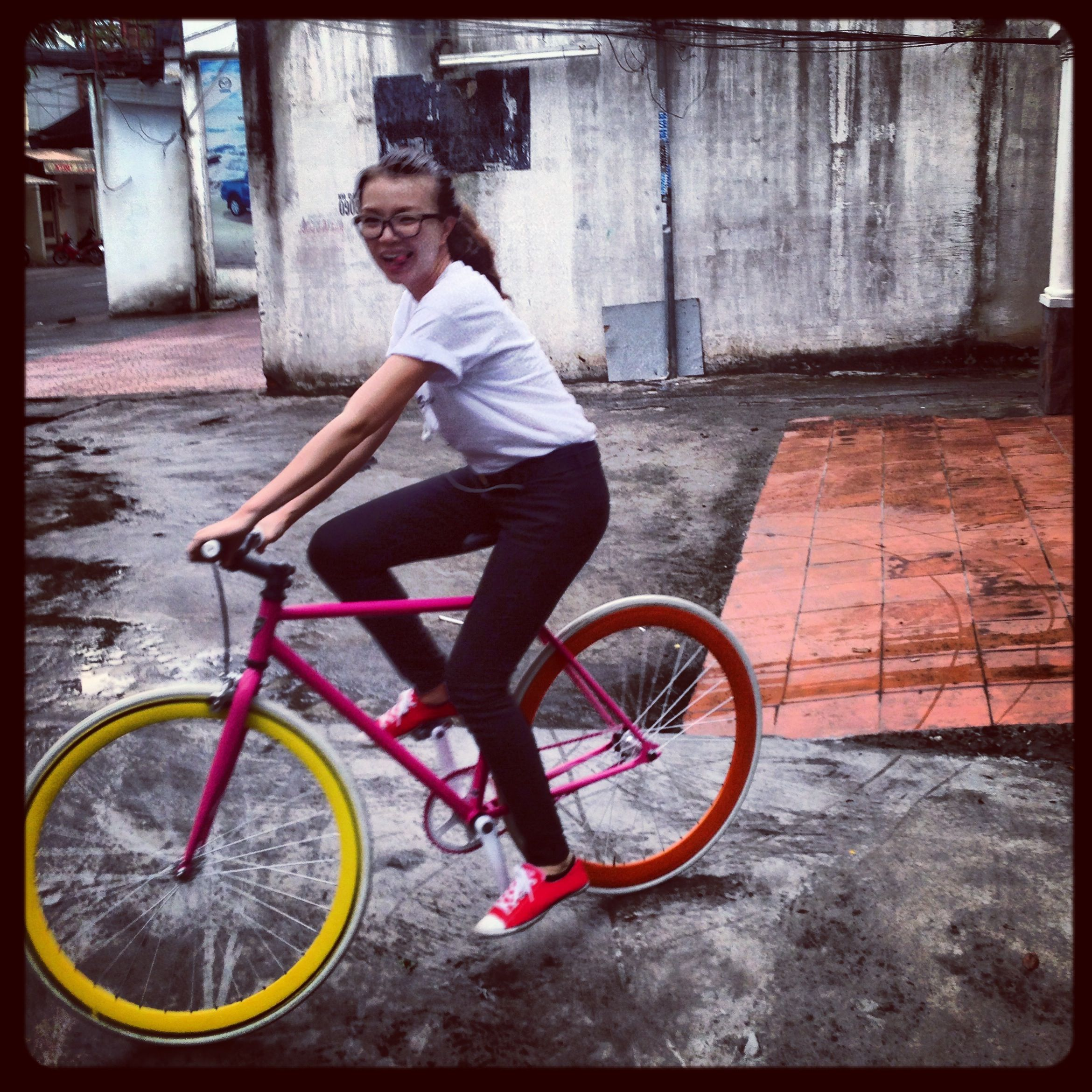 Colorful fixed gear bicycle - go green !!