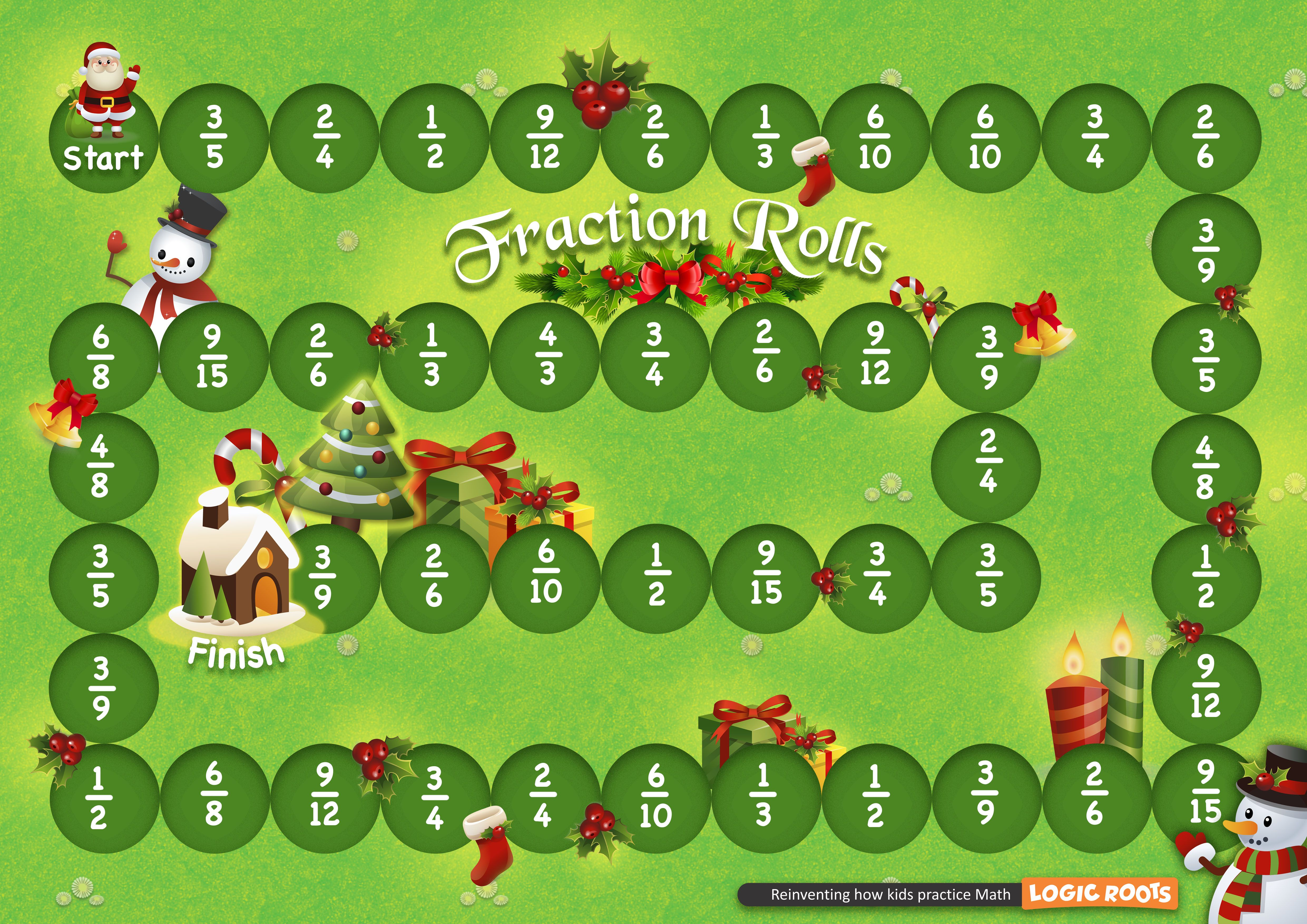 image about Free Printable Fraction Games referred to as Absolutely free Xmas Printable Math Sport - Fractions Roll Math