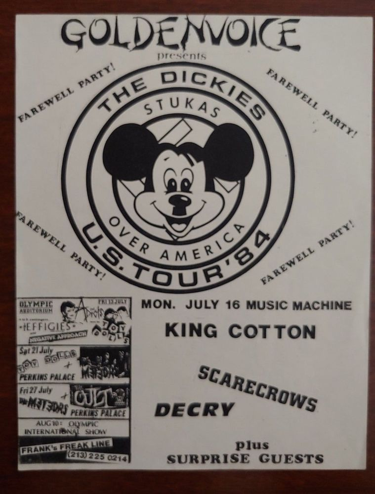 aba58f7ea The Dickies 80s Flyer King Cotton Scarecrows Decry Vintage 1984 Music  Machine
