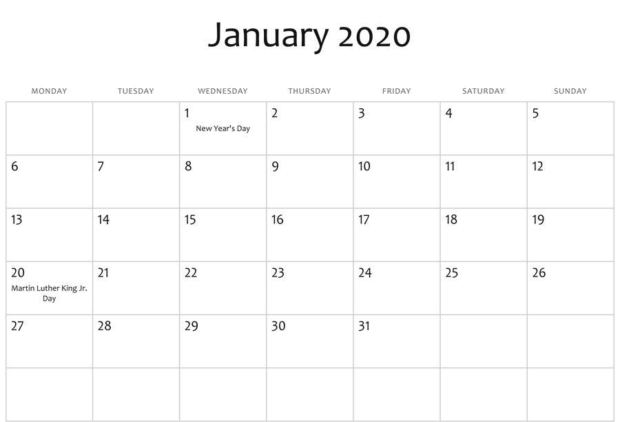 January 2020 Editable Calendar Holidays Monthly Calendar Template Free Calendar Template Calendar Word