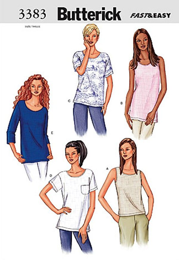 Butterick Misses Top Sewing Pattern 3383   Sew.co.uk   Ladies ...