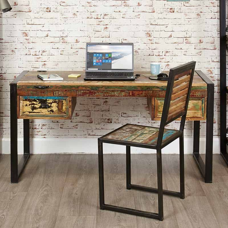 Chic Reclaimed Wood Office Desk chic home office features a rustic wood sawhorse desk paired with an oatmeal linen rolling task chair placed atop a white rug with dark blue thin stripes Urban Chic Reclaimed Wood Laptop Desk Dressing Table