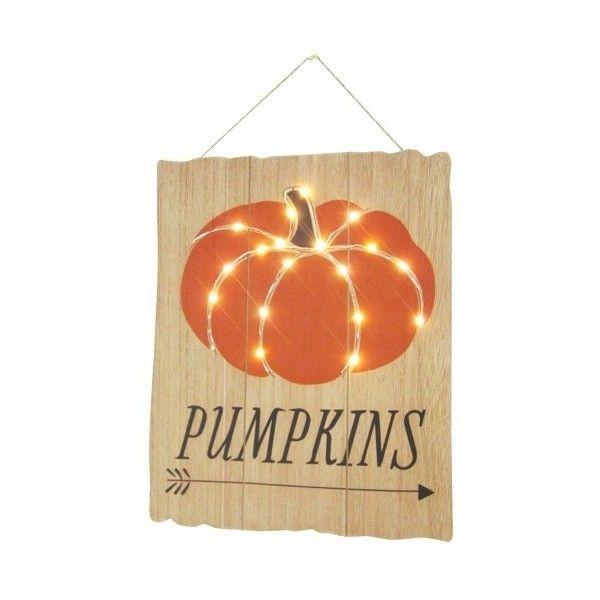 Halloween Lit Pumpkin Wooden Wall Decoration  Target ($15) ❤ liked