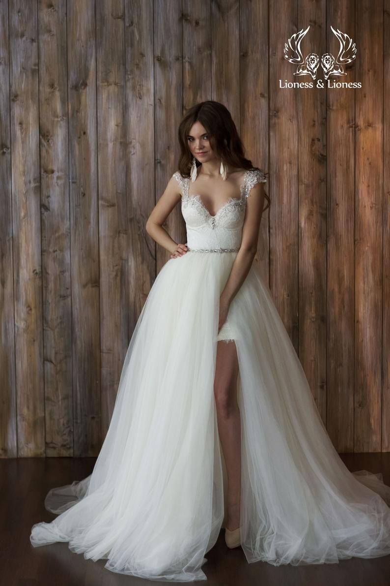 Sparkling A Line Lace Tulle Wedding Dress 2 In 1 Removable Etsy Short Lace Wedding Dress Wedding Dress Detachable Skirt Detachable Wedding Dress [ 1191 x 794 Pixel ]