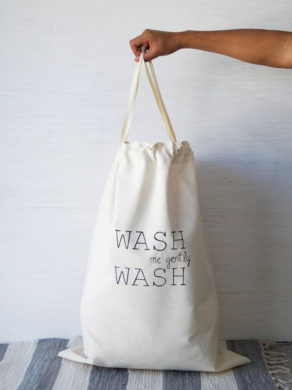 Large Natural Canvas Laundry Bag Wash Cloth Storage Personalized
