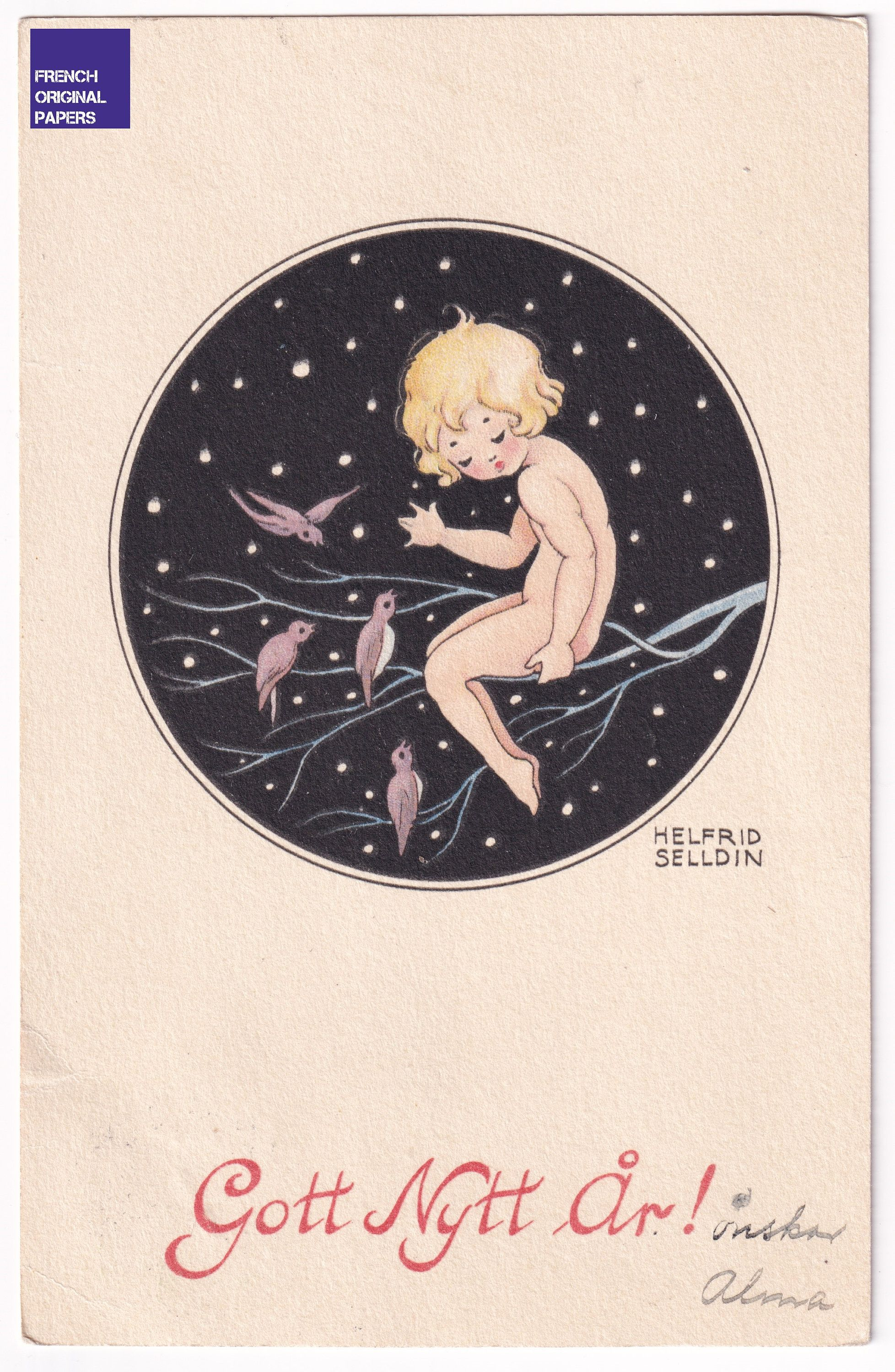Gott Nytt År - Happy New Year 1930s Lovely illustrated antique swedish greeting postcard Helfrid Selldin nude baby tree vintage scandinavian