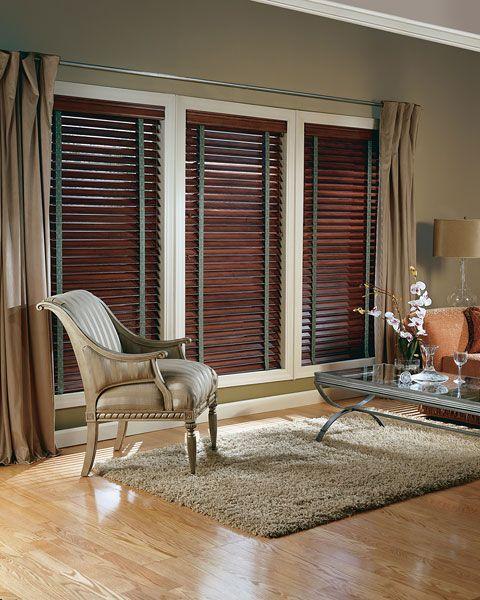 Wood Blinds With Dark Curtains Custom Window Blinds Wood Blinds Blinds For Windows