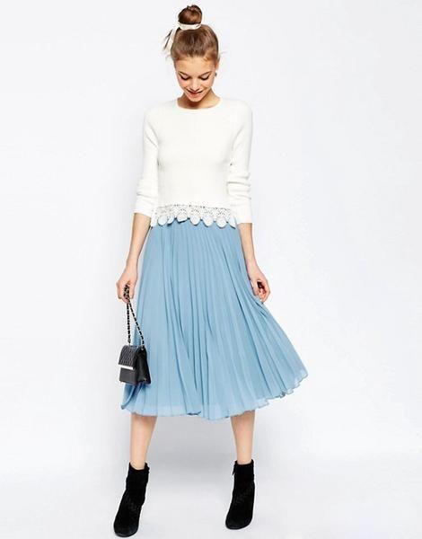Modest Light Blue Pleated Skirt 93304b7995aae