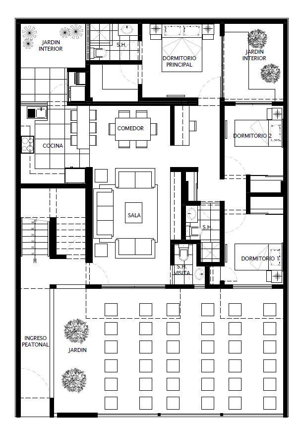 Vivienda multifamiliar de tres pisos en terreno de 11 x 16 m. (176 ...