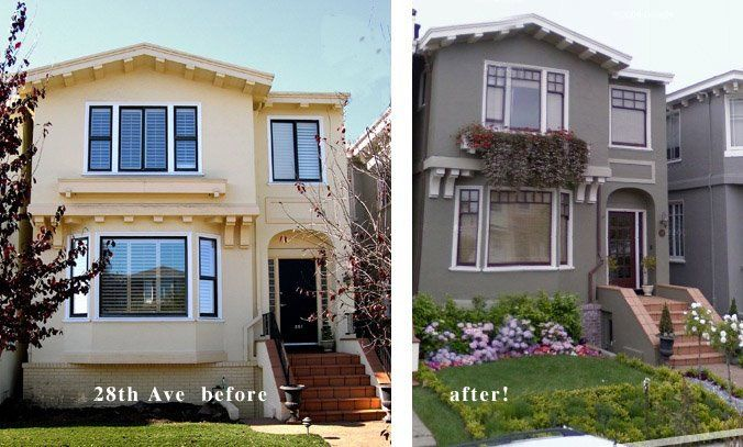 Stucco Exterior Paint Color Schemes stucco and wood houses painted 4 colors |  , san francisco