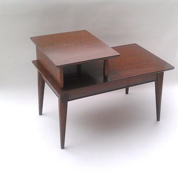 Superb Mid Century Modern End Table Two Tiered Solid By TimandKimShow, $60.00