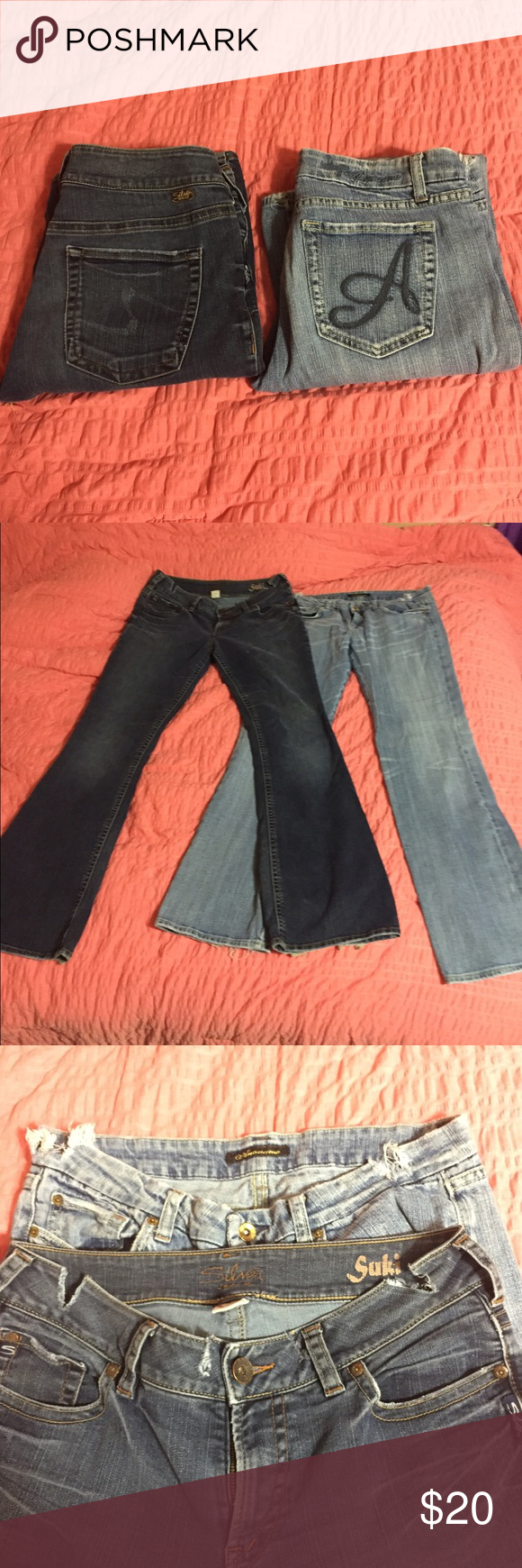 Silver/Anoname Jean bundle 2 Jean bundle. Both size 32/12 Silver brand is slightly more of a flare. Anoname is more of a boot cut. Both pre-loved but in good condition. PLEASE NOTE- these have both been cut in the waist band area. This is why I'm selling them together. I can see the cuts up before I ship if desired. I am willing to sell separate. Let me know if you have any more questions! Silver Jeans Jeans