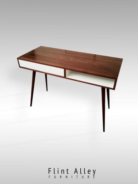 Mid Century Walnut Desk With Push To Open By Flintalleyfurniture