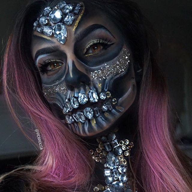 Innnnnnteresting glitzerskull pinterest halloween makeup halloween and halloween ideen - Mexikanische totenmaske schminken ...