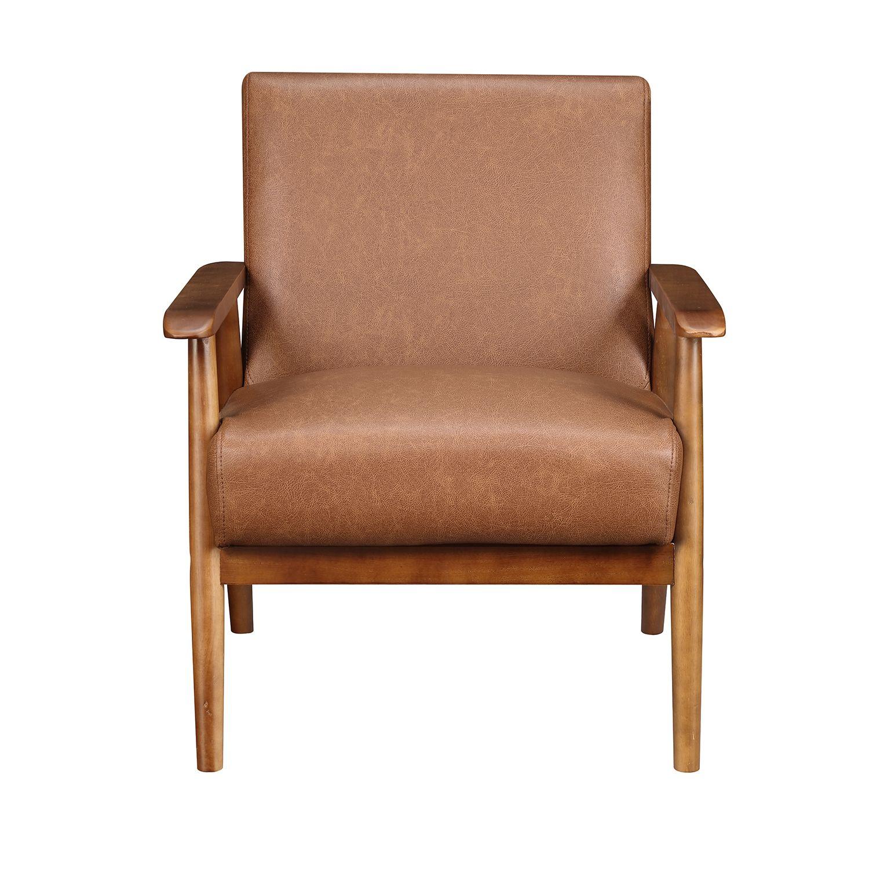 Best Lummus Cognac Wood Frame Accent Chair Armchair Accent 400 x 300