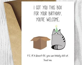 Cat birthday card happy birthday cat digital card funny printable cat birthday card happy birthday cat digital card funny printable card cat box bookmarktalkfo Images