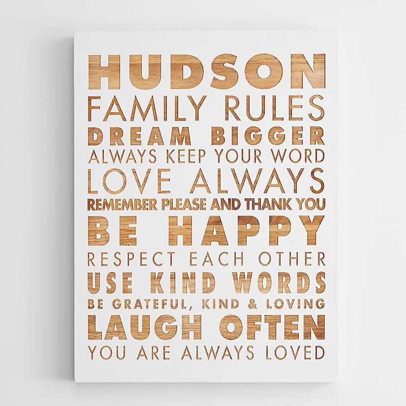 personalized family rules wooden wall art | RedEnvelope.com | quotes ...