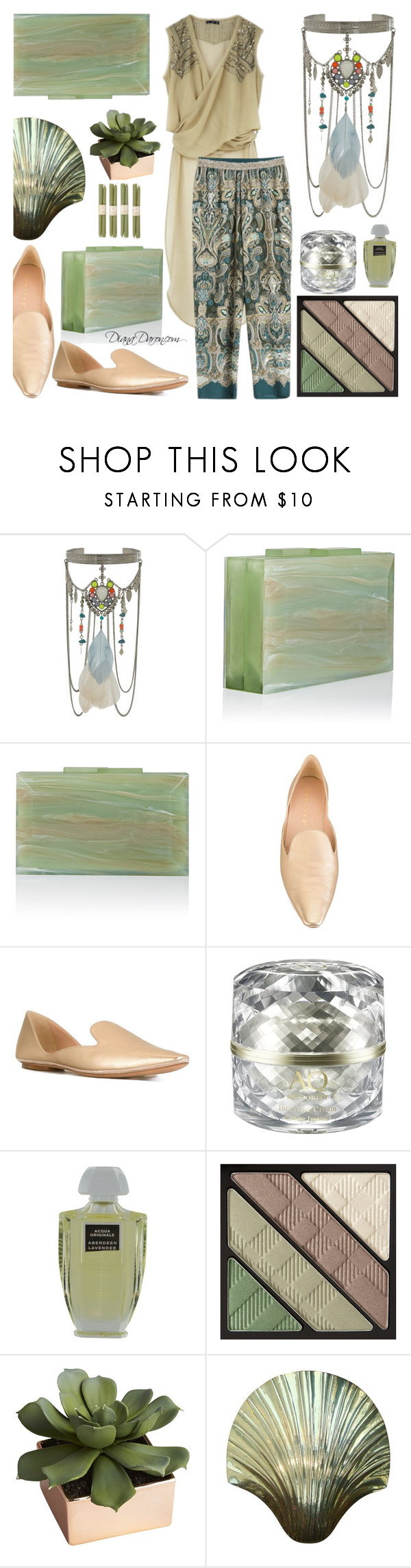 """""""Green"""" by dianadaron ❤ liked on Polyvore featuring Bershka, Oysho, New Look, Rauwolf, Unützer, Decorté, Creed, Burberry and CB2"""