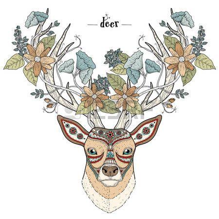 para colorear cabeza de ciervo elegante estilo exquisito | hermoso ...