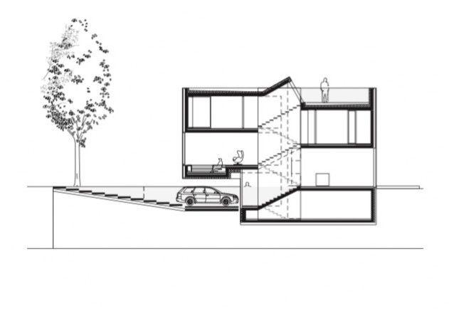 Laket architekten split level haus schnitt architecture - Architektur schnitt ...