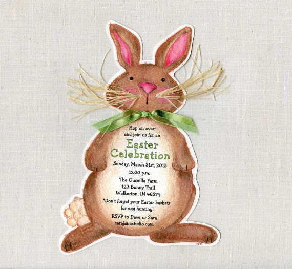 Personalized and Handcut Easter Invitations - Birthday Party Invitations - Brown Easter Bunny Egg Hunt Party Invitations - Set of 15 on Etsy, $22.50