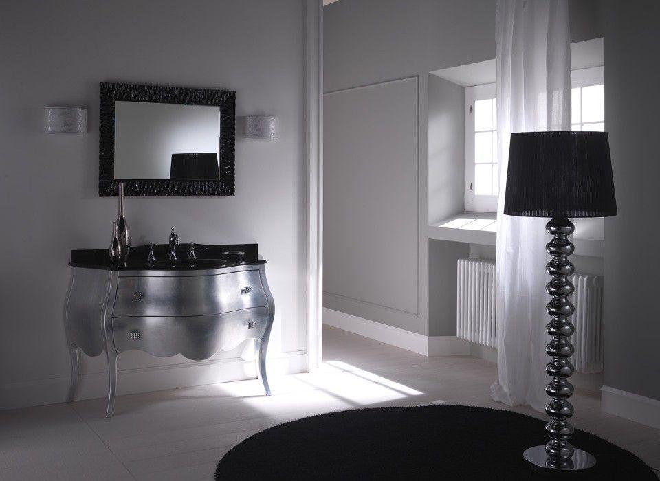 meuble salle de bain baroque argent