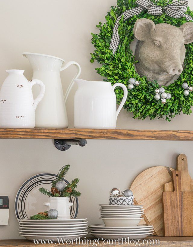 New Rustic Kitchen Shelves Decorated For Christmas