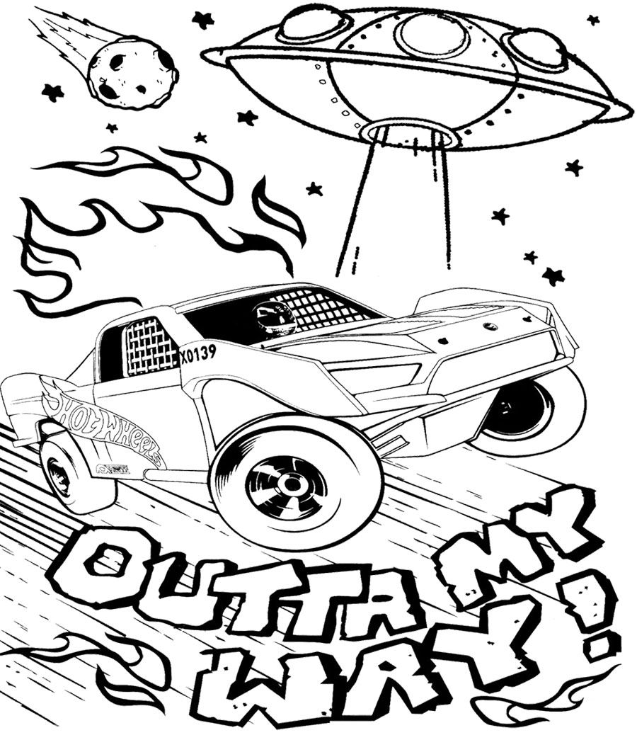 car hot wheels and alien spacecraft coloring page