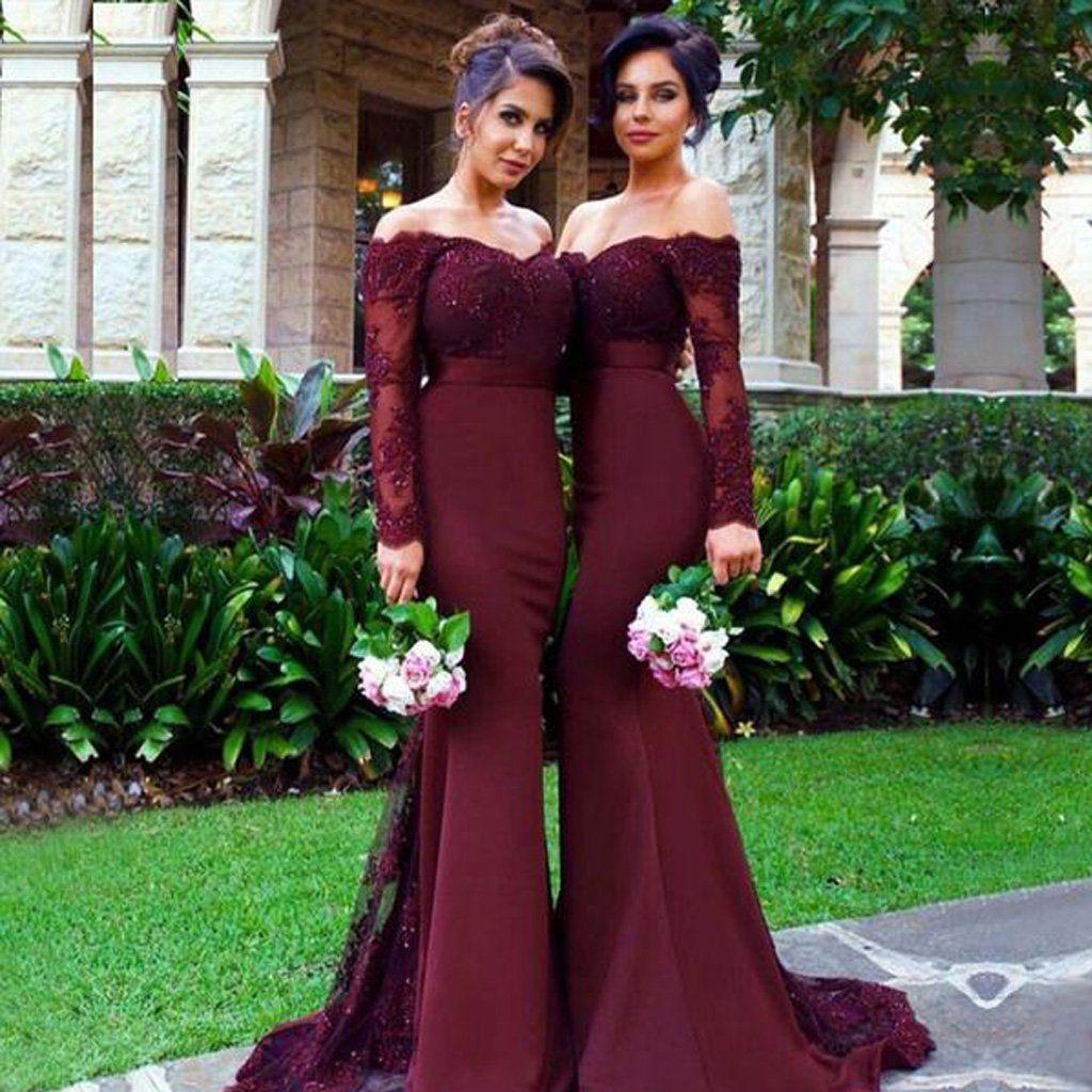Long bridesmaid dress satin bridesmaid dress offshoulder