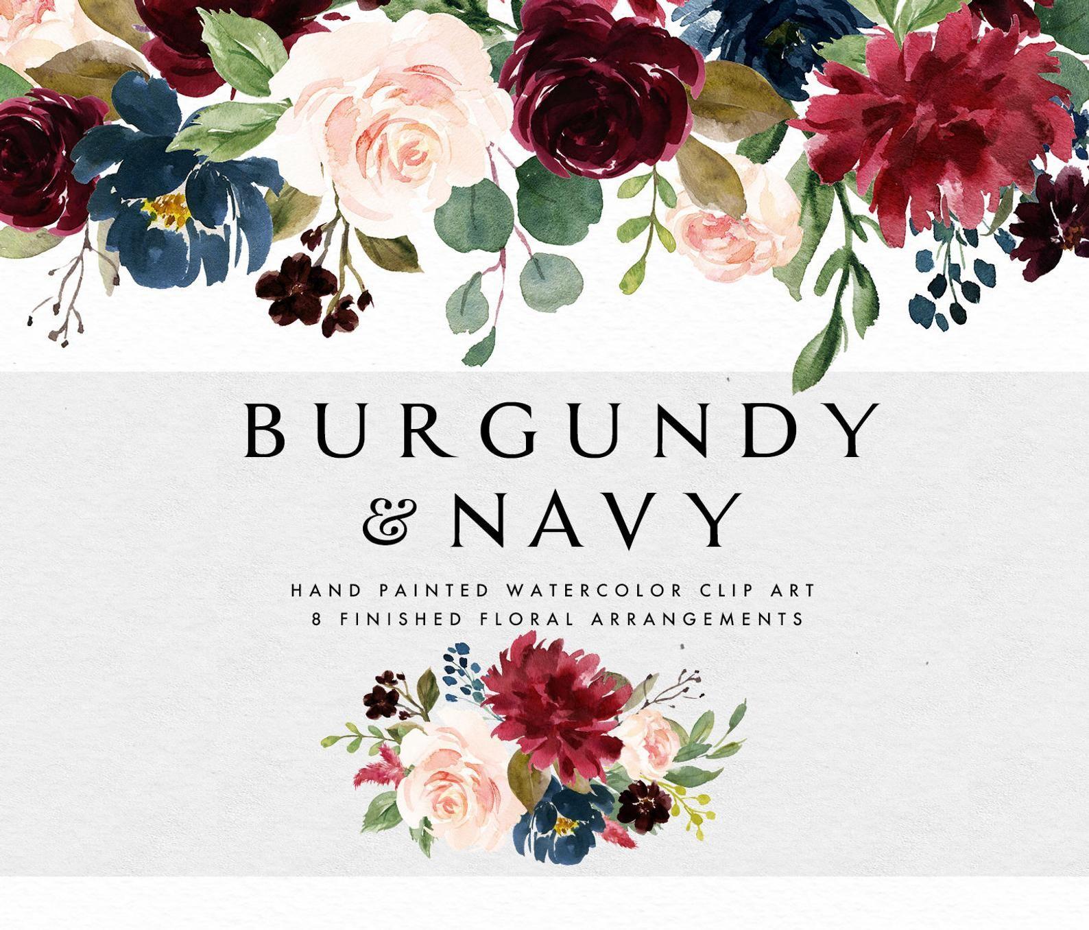 Watercolor Floral Clip Art Burgundy Navy Small Set Individual Png
