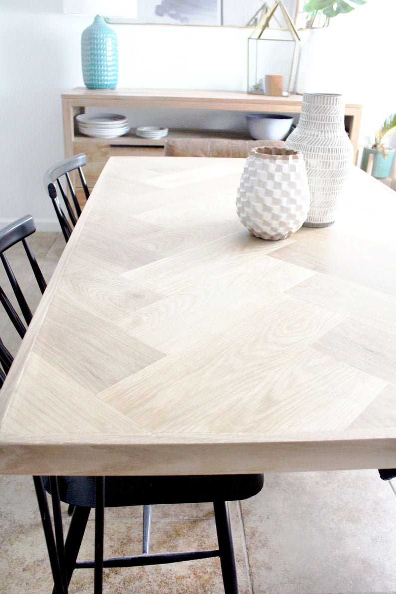 White Oak Herringbone Dining Tabledining Table With Metal Etsy In 2020 Rectangle Dining Table Unique Dining Tables Handcrafted Dining Table
