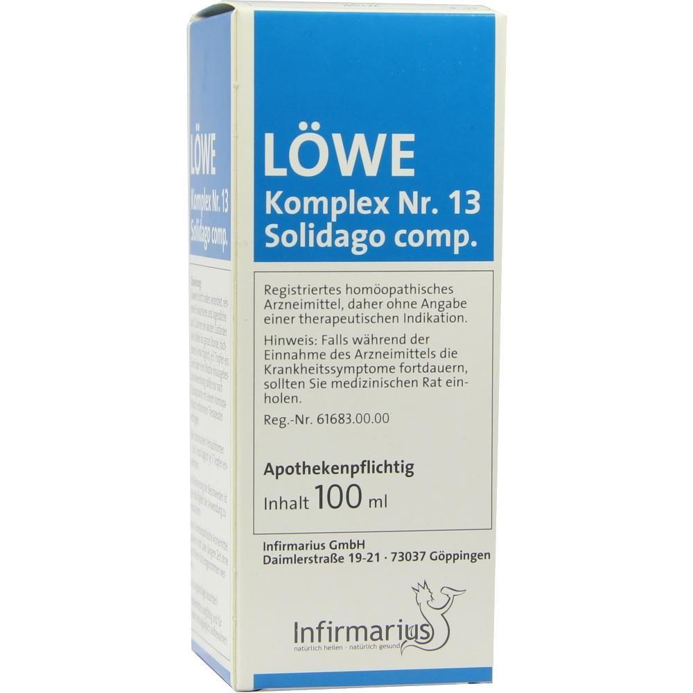 LOEWE KOMPLEX Nr.13 Solidago compositum (comp.) Tropfen:   Packungsinhalt: 100 ml Tropfen PZN: 05378625 Hersteller: Infirmarius GmbH…