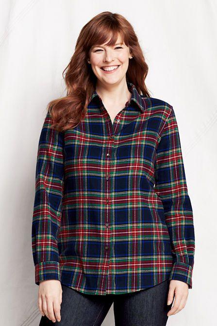 a1d03a8a941 Women s Long Sleeve Pattern Flannel Shirt from Lands  End