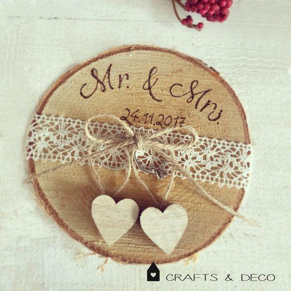 Ring Pillow – Tree Slice Ring Pillow Boda rústica vintage – Un diseñador …