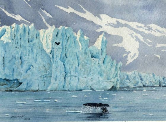 Glacier Bay Alaska Watercolor Images Alaska Painting Glacier