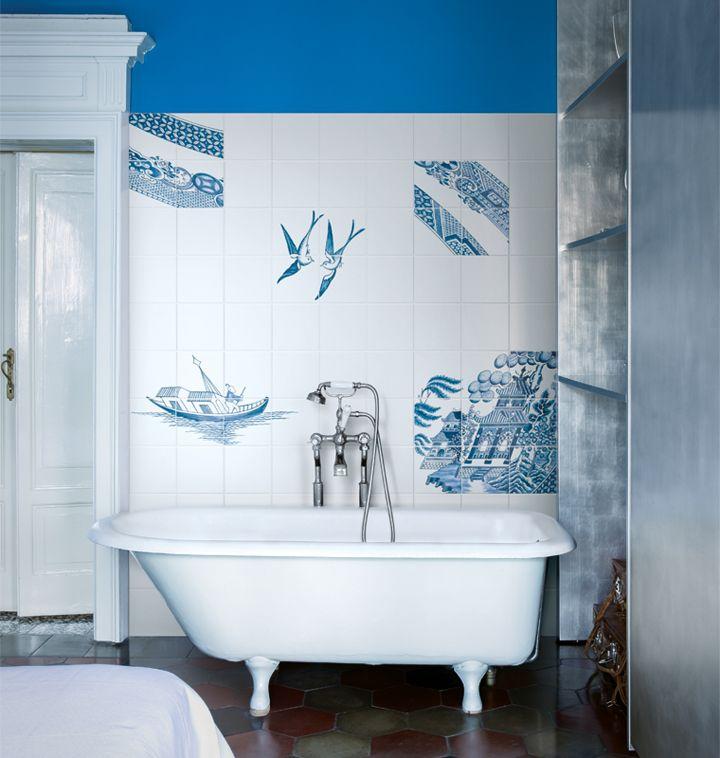 Decori a mano blue willow by ceramica bardelli bagno i bath i amarenuotareesserefelici - Piastrellare il bagno ...