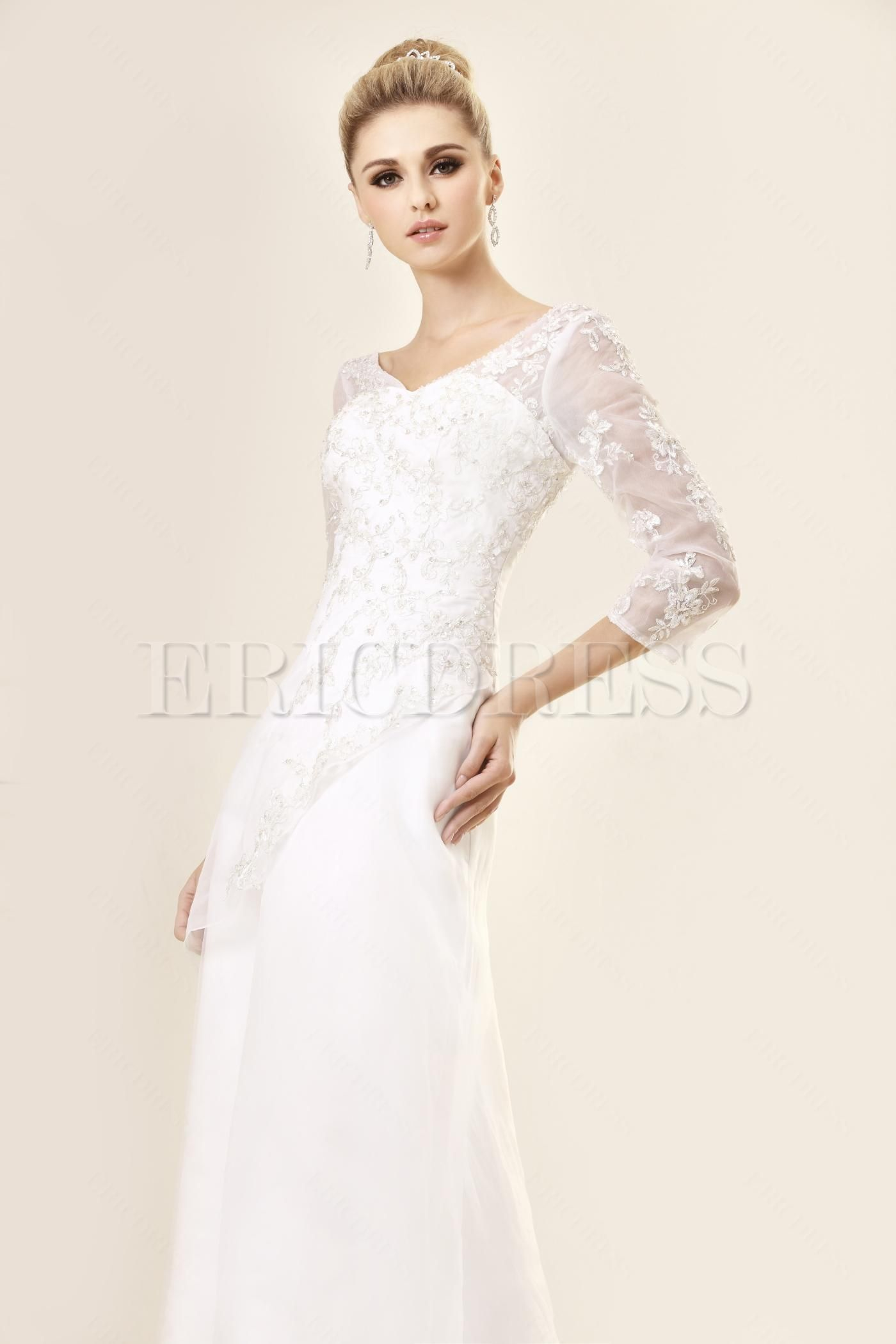Charming A-Line/Princess V-neck Long-Sleeve Lace Wedding Dress ...