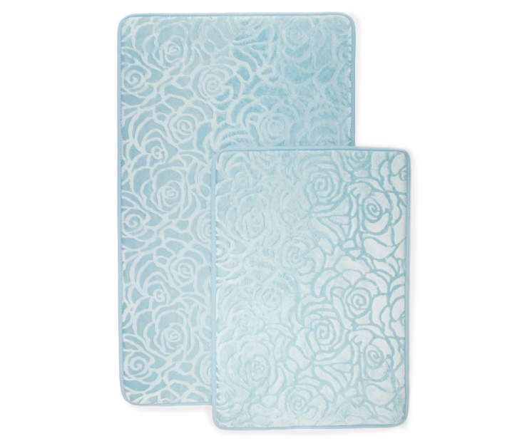 Just Home Sky Blue Memory Foam Bath Rug Set 2 Pack Rugs Blue