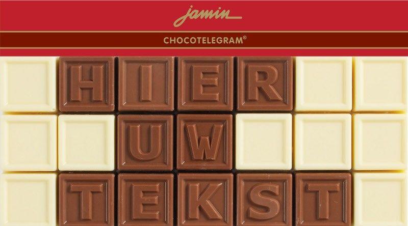 Jamin chocotelegram love 3 regels: jouw tekst  Description: Stuur uw persoonlijke boodschap in heerlijke chocolade. Vul uw tekst in het desbetreffende vak in en klik op 'in shoppingbag' om uw chocotelegram te bestellen. Voor levering volgende werkdag voor 17.00 uur bestellen.  Price: 12.50  Meer informatie  #Jamin